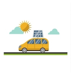 Sun solar energy electric car vector