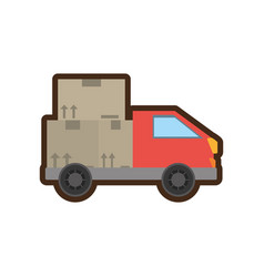 Truck delivery transport cardboard box vector