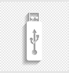 Usb flash drive sign white icon vector