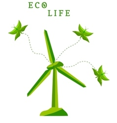 Windmill and green butterflies vector image