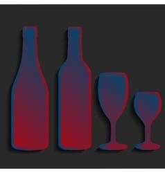 wine bottle sign set Bottle icon crockery vector image vector image