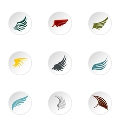 Wings icons set flat style vector