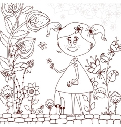 Zen tangle girl in a floral vector