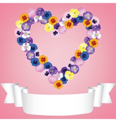 Flower heart and ribbon vector