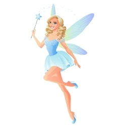 Beautiful blue fairy with magic wand and vector