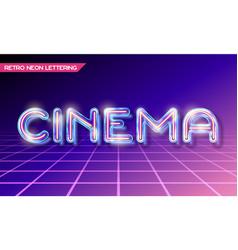 Retro glass neon lettering vector