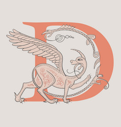 Griffin fantasy monster creature medieval style vector
