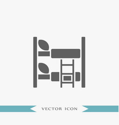 Bed icon simple furniture sign vector