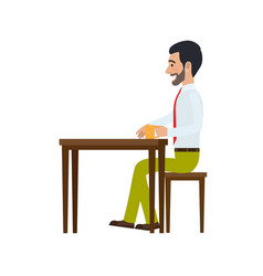 Man sitting at chair and drinking tea side view vector