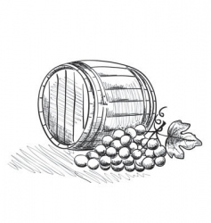 Barrel of grapes vector