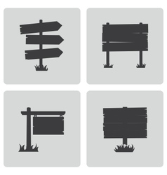 black old wood sign set vector image