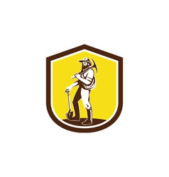 Coal miner carry pick axe shoulder retro vector