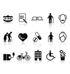 Elderly and senior icons set vector