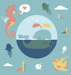 Ocean cartoon charactersb set vector