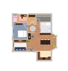 Flat project with furniture vector