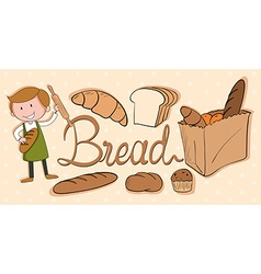 Baker and different kind of bread vector