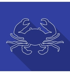 Icon contour crab flat style long shadows vector