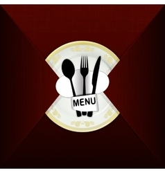 restaurant menu with plate and hat chef vector image