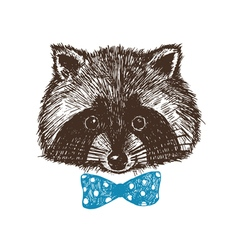 Concept hand drawn cute raccoon in bow-tie design vector