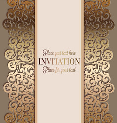Antique luxury wedding invitation gold on beige vector