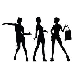 Black silhouettes of beautiful women vector