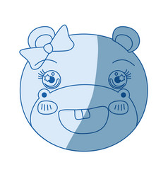 Blue color shading silhouette face of female hippo vector