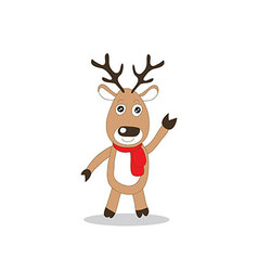 brown reindeer with red scarf standing vector image vector image