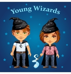 Cartoon boy and girl in wizard costume vector image