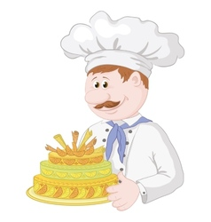 Cartoon cook with holiday cake vector image