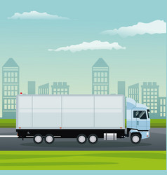 Color background city landscape with truck in vector