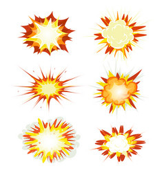 comic book explosion bombs and blast set vector image