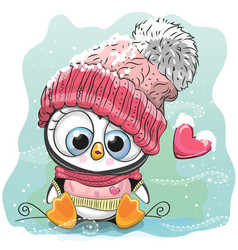 cute cartoon penguin in a knitted cap vector image vector image