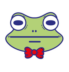 cute frog head wild animal vector image