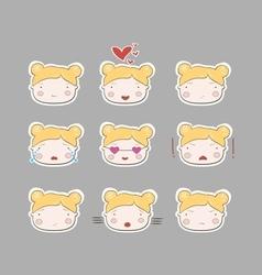 Cute simple drawing blonde baby girl emotions set vector