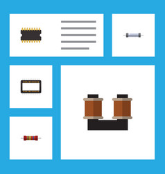Flat icon electronics set of resistance coil vector