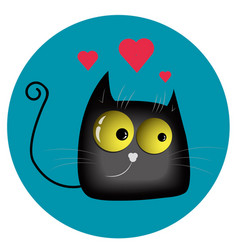 Funny enamored cat vector