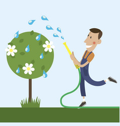 gardener is watering vector image