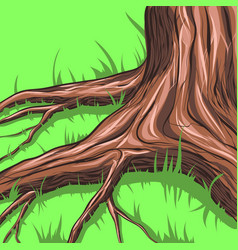 Grass around the tree vector