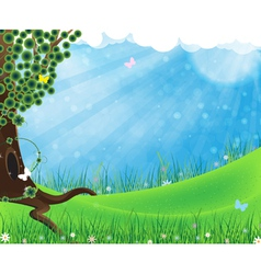 Green tree on meadow vector image