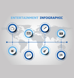 Infographic design with entertainment icons vector