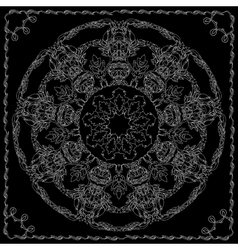 Mandala with contoured floral ethnic decorative vector