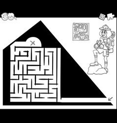 maze activity game with traveler and pyramid vector image vector image