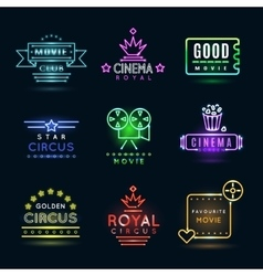 Neon circus and cinema or movie emblems vector