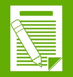 paper and pencil icon green vector image vector image