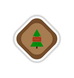 Paper sticker on white background fir park vector