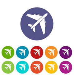 passenger airliner set icons vector image vector image