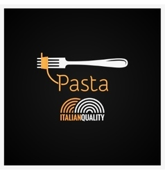 Pasta spaghetti on fork background vector