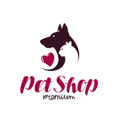 Pet shop or vet clinic logo animals cat dog vector
