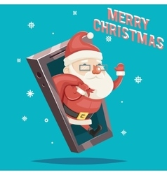 Santa claus with gift bag christmas new year vector
