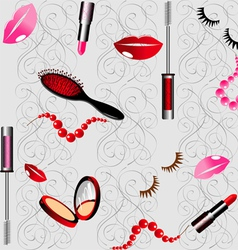 seamless background with cosmetics vector image vector image